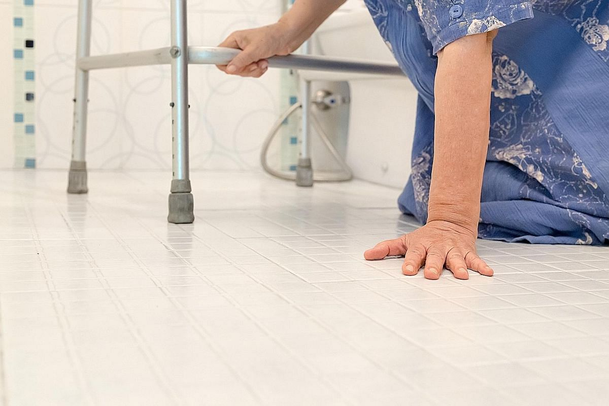 The slippery floor of a bathroom can cause a senior to fall.