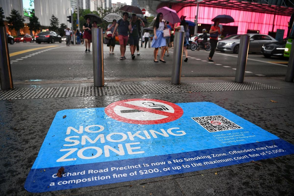 The smoking ban in Singapore's Orchard Road shopping belt was enforced on April 1, 2019, with offenders facing a composition fine of $200 or a court fine of up to $1,000. PHOTO: THE STRAITS TIMES/CHONG JUN LIANG