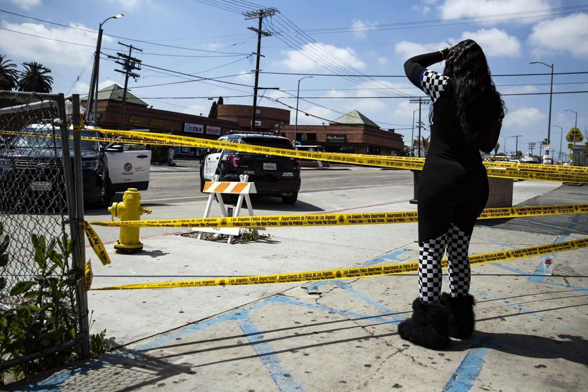 Police tape around the area where rapper Nipsey Hussle was shot dead.