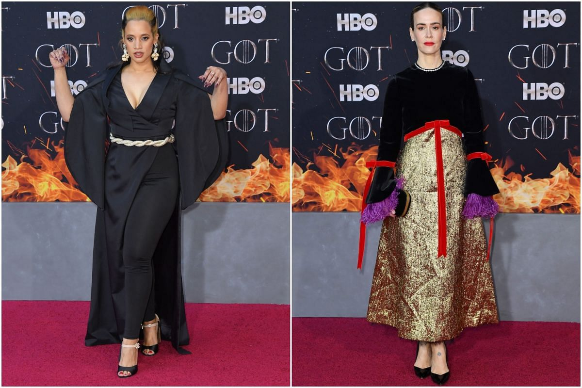 (From left) US-Dominican actress Dascha Polanco and US actress Sarah Paulson arrive for the Game of Thrones eighth and final season premiere at Radio City Music Hall on April 3, 2019 in New York city.