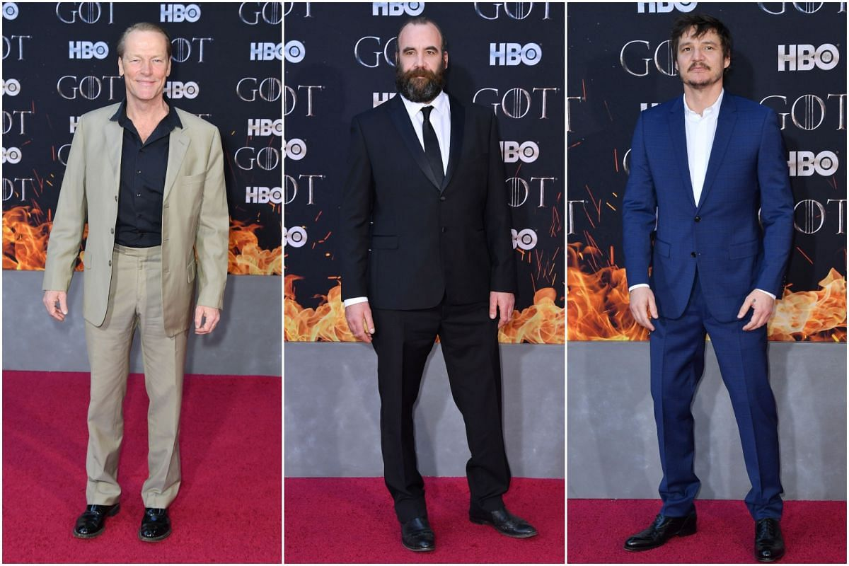 (From left) Scottish actors Iain Glen and Rory McCann and Chilean actor Pedro Pascal arrive for the Game of Thrones eighth and final season premiere at Radio City Music Hall on April 3, 2019 in New York city.