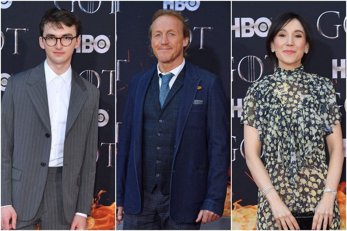 (From left) Isaac Hempstead Wright, Jerome Flynn and Sibel Kekilli arrive for the Game of Thrones eighth and final season premiere at Radio City Music Hall on April 3, 2019, in New York City.
