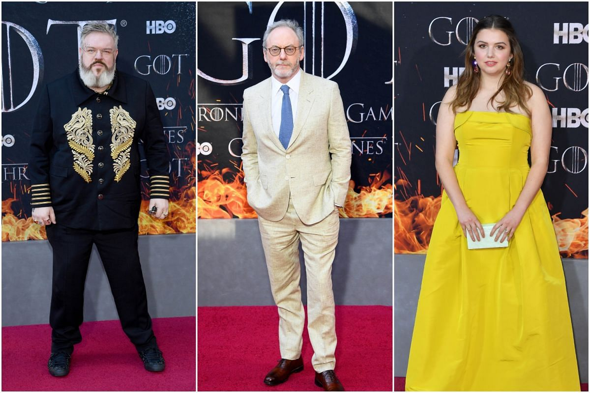 (From left) Kristian Nairn, Liam Cunningham and Hannah Murray arrive for the Game of Thrones eighth and final season premiere at Radio City Music Hall on April 3, 2019, in New York City.