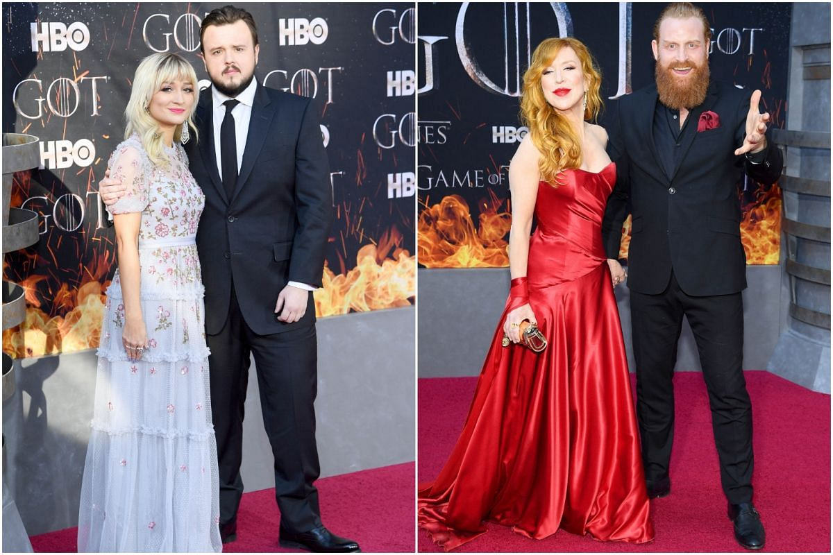 (From left) John Bradley with an unnamed guest, and Kristofer Hivju with his wife Gry Molvær Hivju arrive for the Game of Thrones eighth and final season premiere at Radio City Music Hall on April 3, 2019, in New York City.