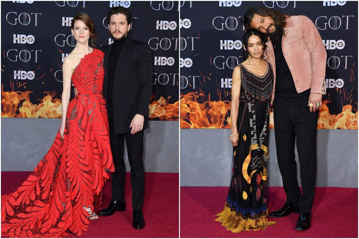 (From left) Scottish actress Rose Leslie and husband British actor Kit Harington, US actor Jason Momoa and wife actress Lisa Bonet arrive for the Game of Thrones eighth and final season premiere at Radio City Music Hall on April 3, 2019, in New York