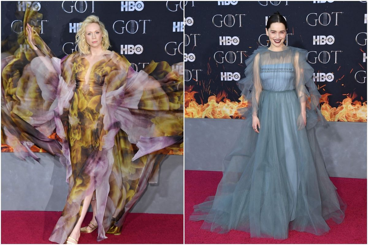 (From left) British actresses Gwendoline Christie and Emilia Clarke arrive for the Game of Thrones eighth and final season premiere at Radio City Music Hall on April 3, 2019, in New York City.