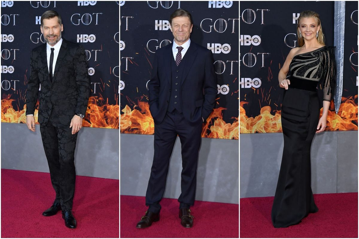 (From left) Sean Bean, Nikolaj Coster-Waldau and Natalie Dormer arrive for the Game of Thrones eighth and final season premiere at Radio City Music Hall on April 3, 2019, in New York City.