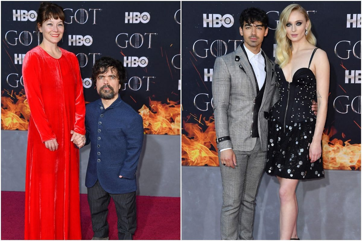 (From left) US actor Peter Dinklage and wife Erica Schmidt, and British actress Sophie Turner and singer Joe Jonas arrive for the Game of Thrones eighth and final season premiere at Radio City Music Hall on April 3, 2019, in New York City.