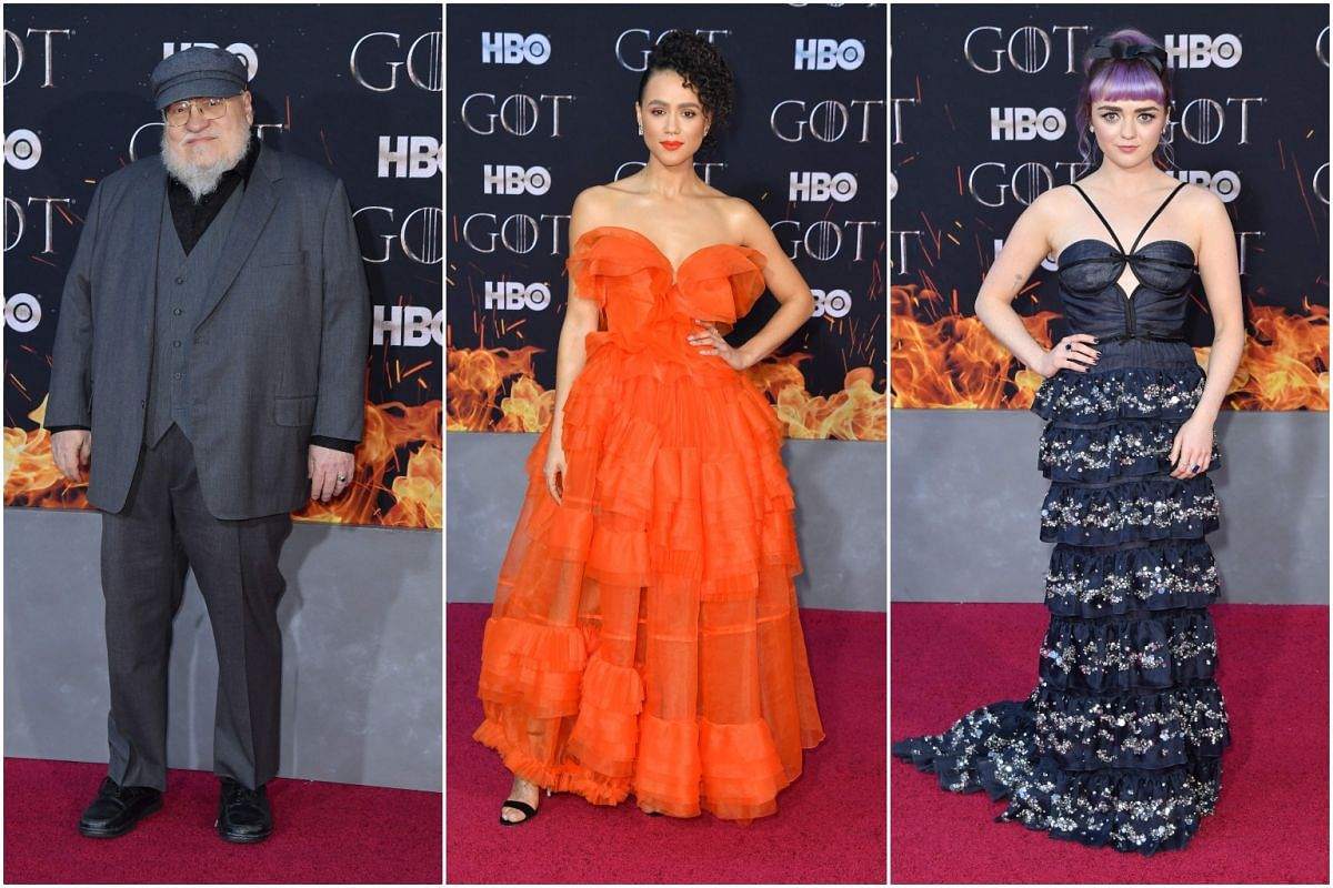 (From left) Author/co-executive producer George R. R. Martin, British actresses Nathalie Emmanuel and Maisie Williams arrive for the Game of Thrones eighth and final season premiere at Radio City Music Hall on April 3, 2019, in New York City.