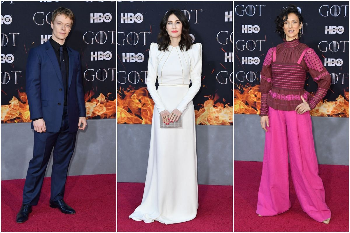 (From left) British actor Alfie Allen, Dutch actress Carice van Houten and British actress Indira Varma arrive for the Game of Thrones eighth and final season premiere at Radio City Music Hall on April 3, 2019 in New York city.