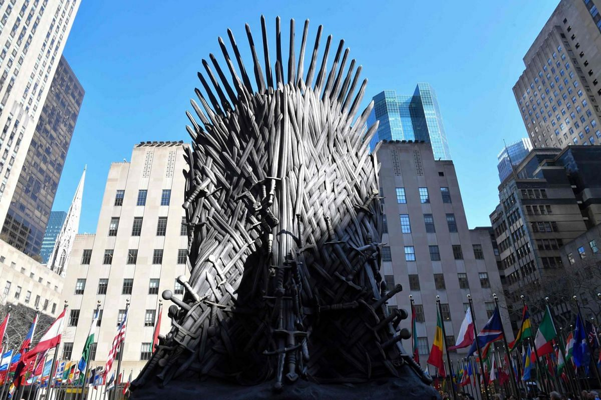 A giant Iron Throne on display ahead of the Game of Thrones eighth and final season premiere at Radio City Music Hall on April 3, 2019, in New York City.