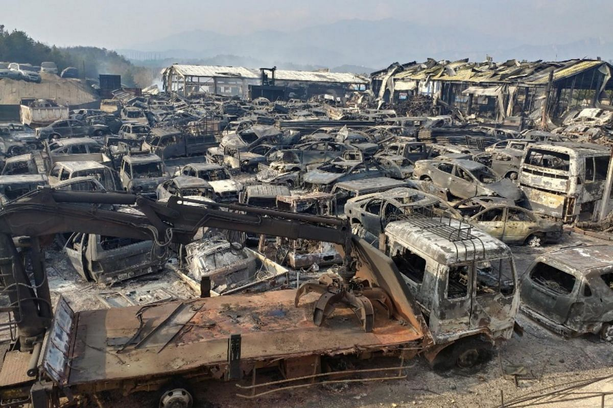 Burnt vehicles are left after a junkyard was hit by a massive forest fire that started the previous day, in Sokcho, South Korea, on April 5, 2019.