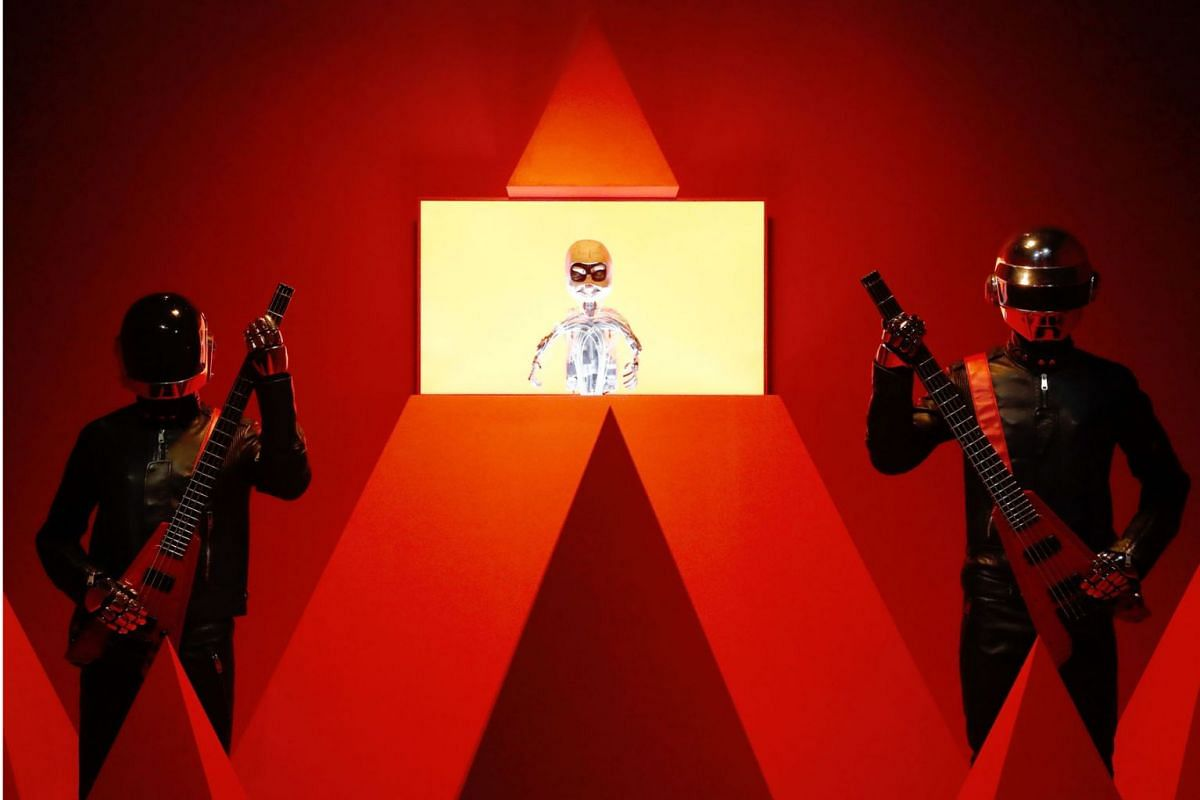 "Daft Punk Technologic Redux from 2019 is displayed during the press visit of the exhibition ""from Kraftwerk to Daftpunk"" at the Philarmonie in Paris, on April 8, 2019. PHOTO: AFP"
