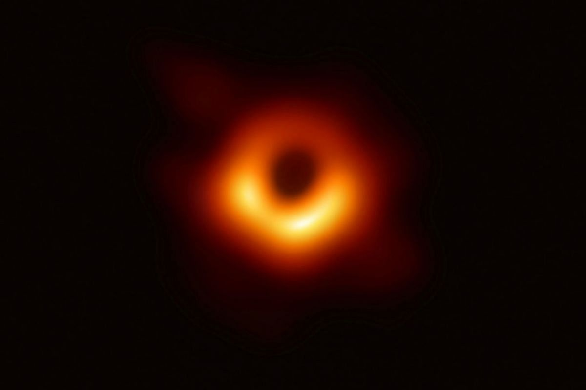 The first ever photo of a black hole, taken using a global network of telescopes, conducted by the Event Horizon Telescope (EHT) project, to gain insight into celestial objects with gravitational fields so strong no mater or light can escape, is show