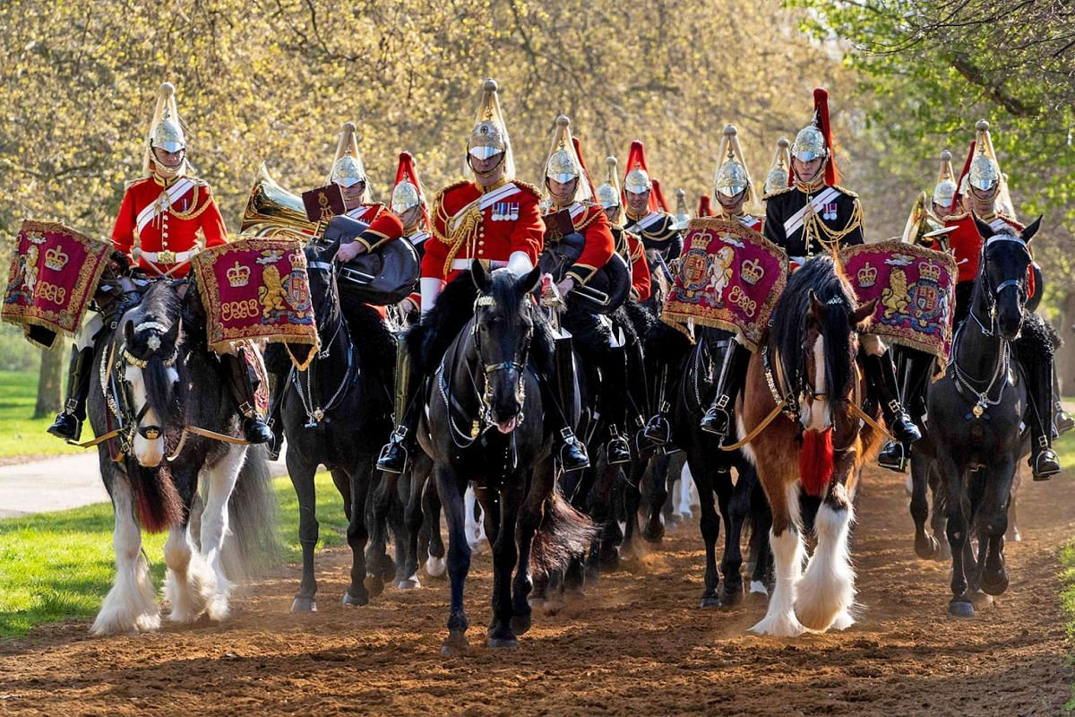 Members of the Household Cavalry Mounted Regiment take part in the annual inspection in Hyde Park, central London on April 11, 2019. PHOTO: AFP