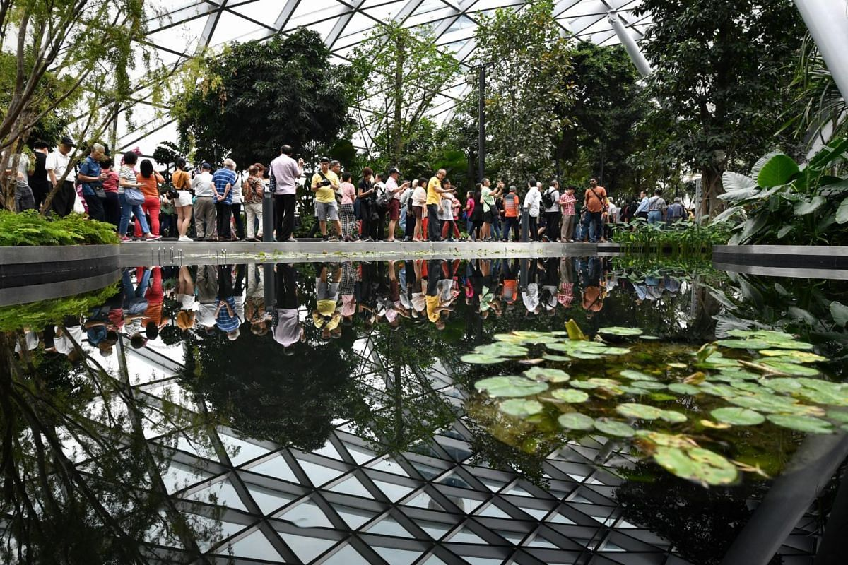 Visitors at the Canopy Park on the top level of Jewel Changi Airport on April 11, 2019.