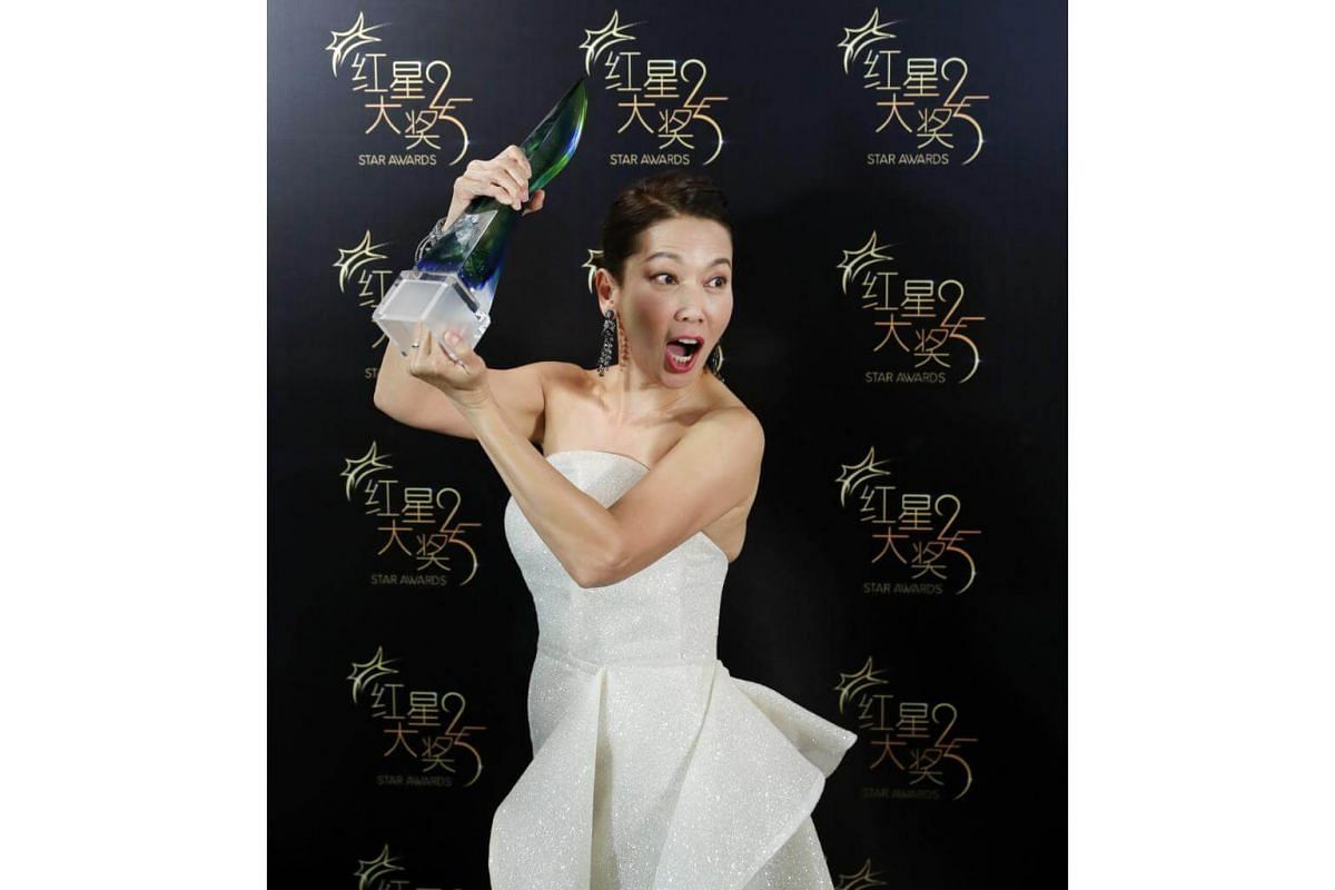All-time Favourite Artiste winner Kym Ng at the 25th anniversary of the Star Awards, on April 14, 2019.