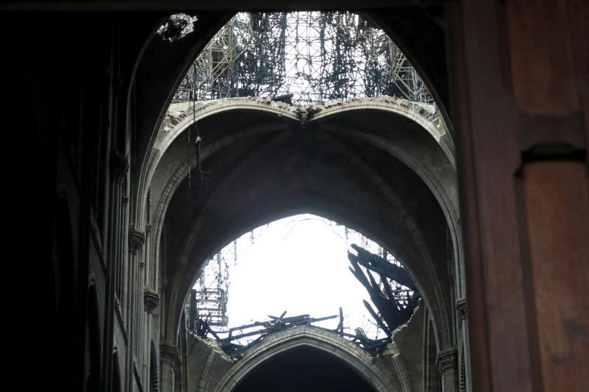 Interior view of the Notre Dame Cathedral in the aftermath of a fire in Paris, France, on April 16, 2019.