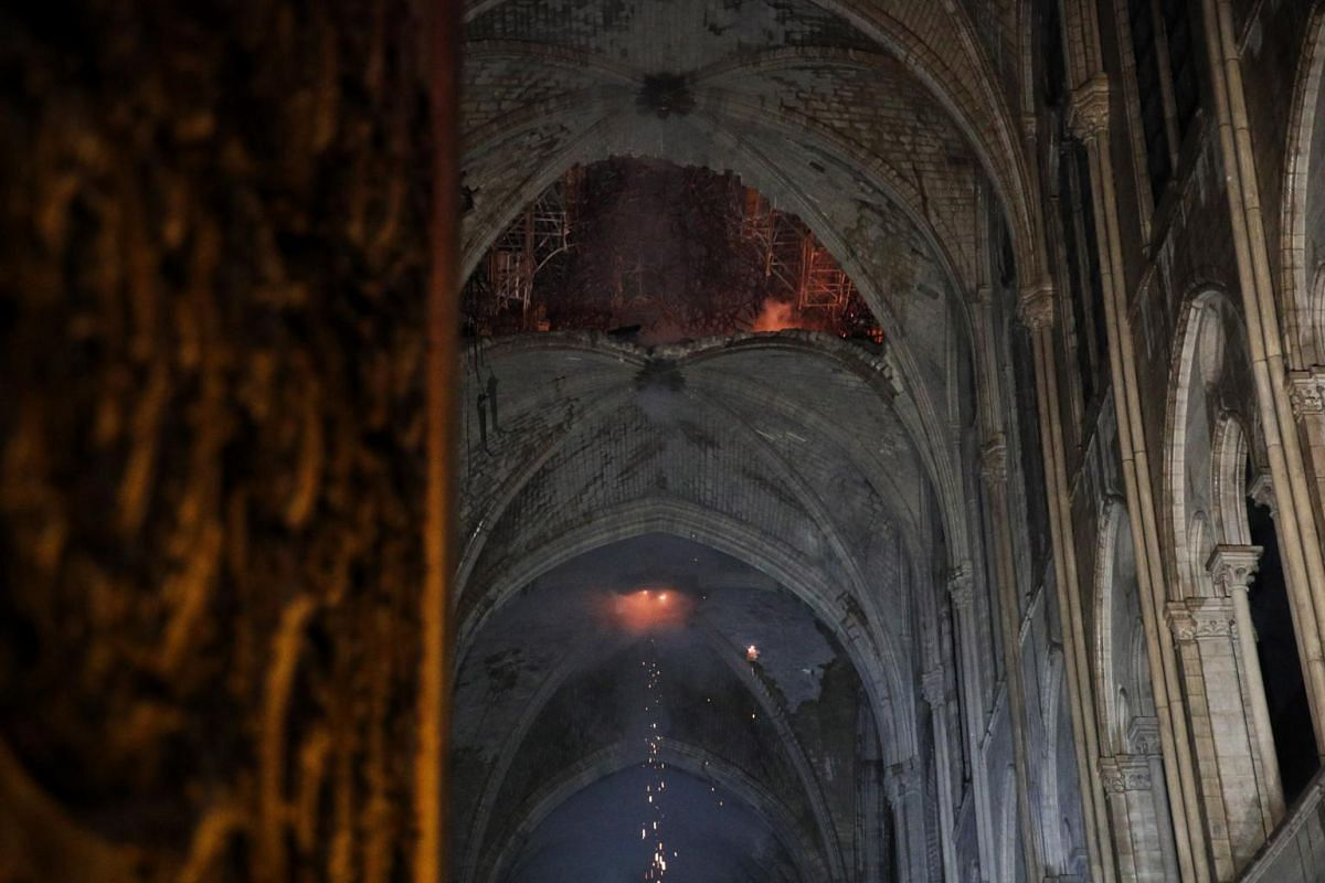 A general view of the roof of the Notre Dame Cathedral after a massive fire in Paris, on April 15, 2019.