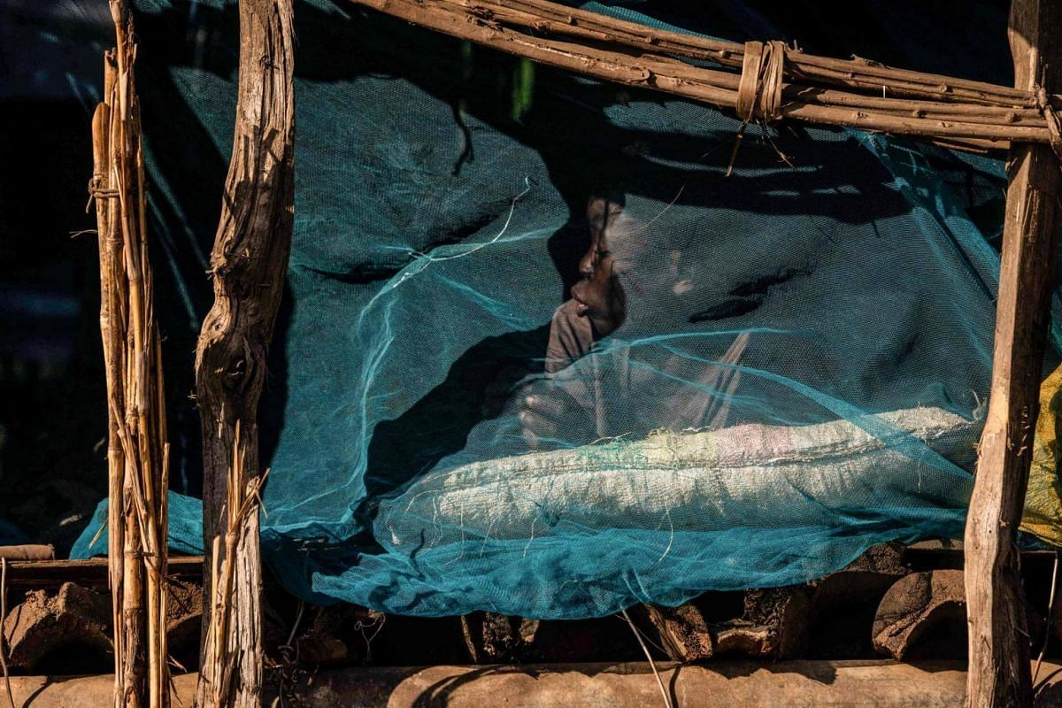 Fernando Antonio plays behind a mosquito net on what used to be his house in Mananga-Batista village, Buzi District, Mozambique, on April 15, 2019.