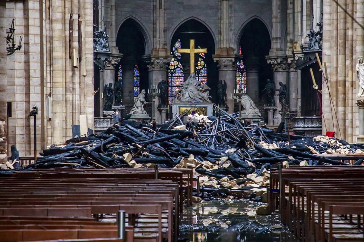 The damaged interior of Notre-Dame Cathedral in Paris on April 16, 2019.