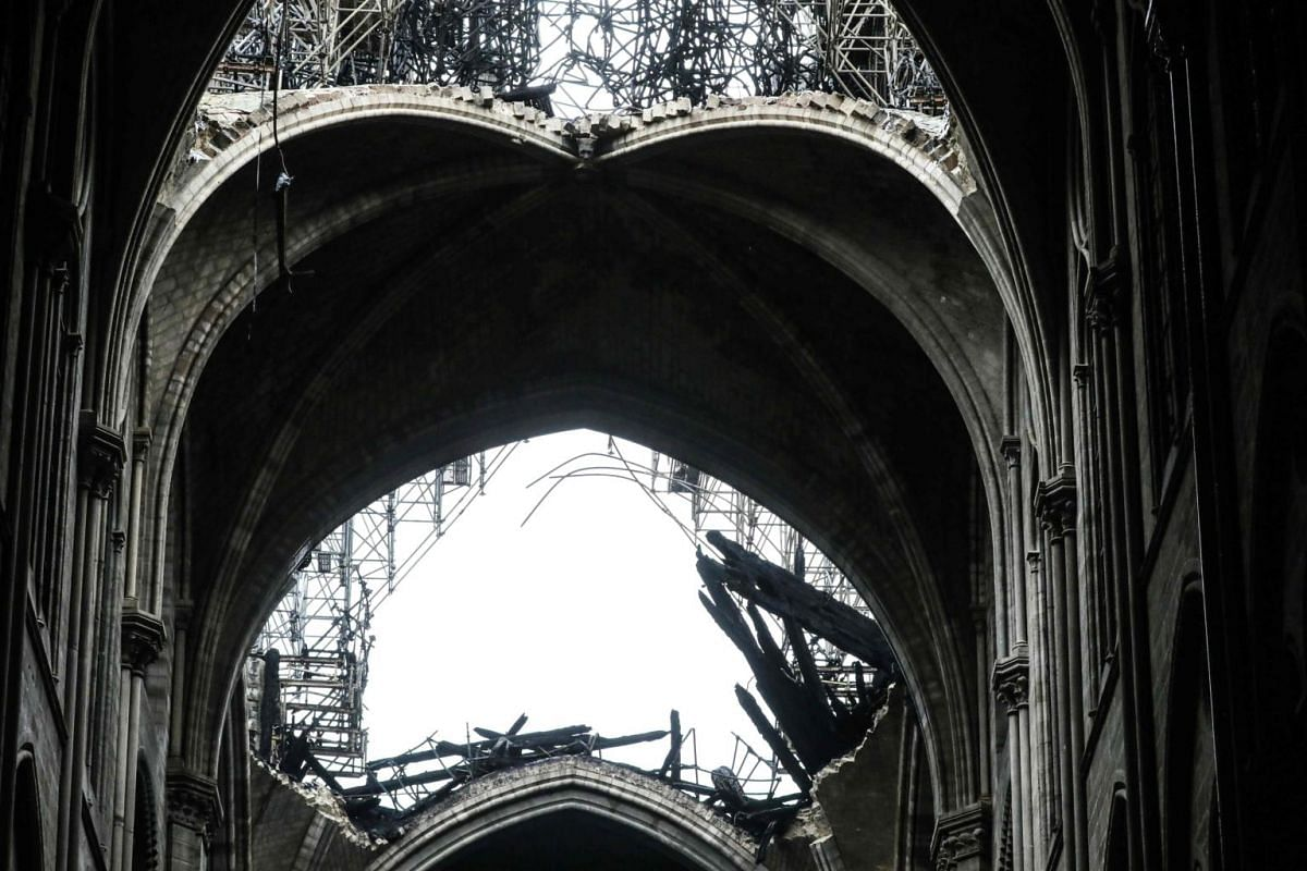 A partially collapsed vault above the nave of Notre-Dame in Paris in the aftermath of a fire that devastated the cathedral on April 16, 2019.