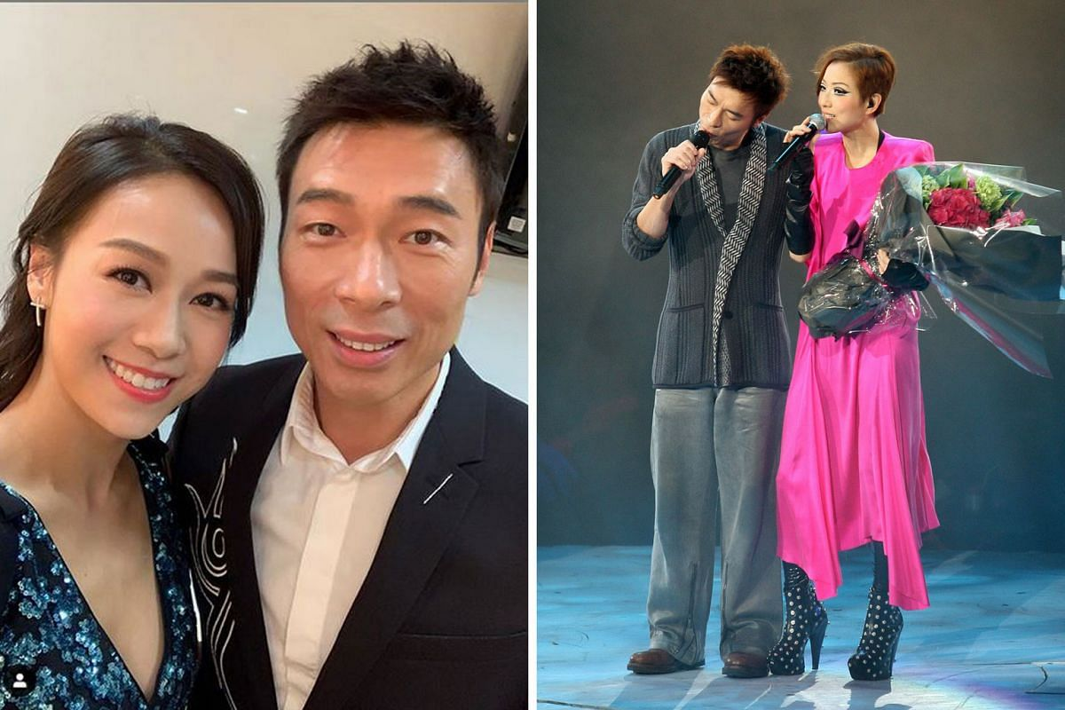 Andy Hui, who is married to Sammi Cheng (both right), was caught on camera canoodling with TVB actress Jacqueline Wong (above).