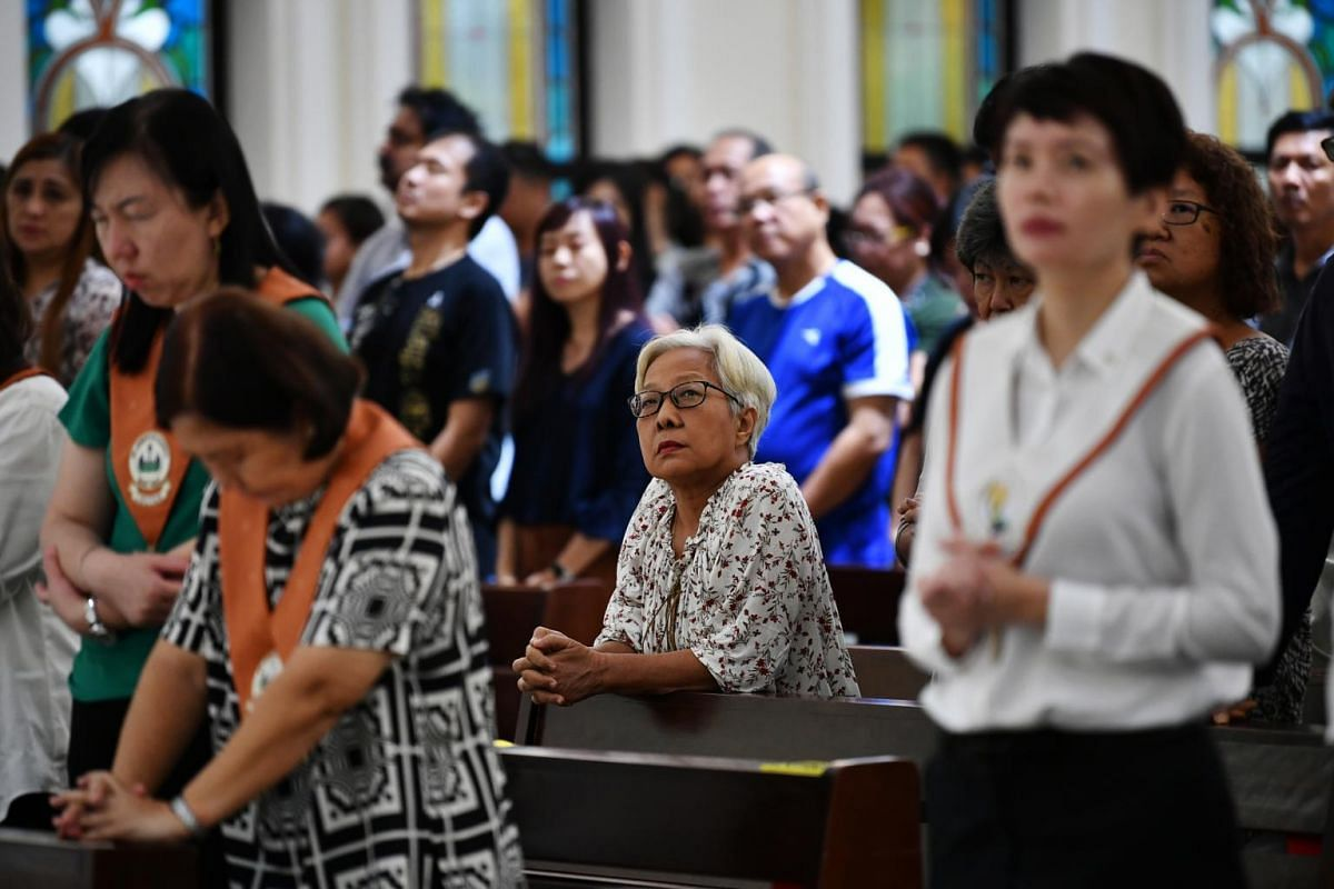 Parishioners listening attentively to the Word of God at the 5pm service at St Joseph's Church, on April 19, 2019.