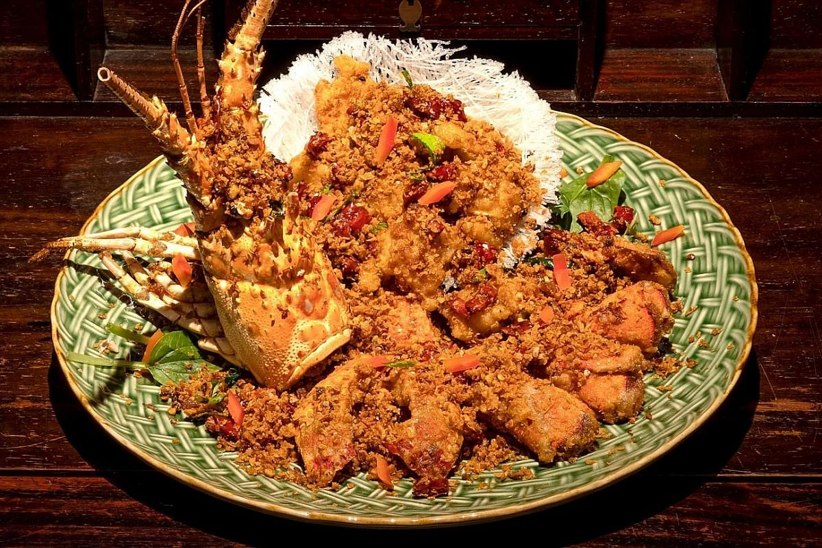 Dragon Mountain, which is lobster tossed with garlic, chillies, fermented soya beans and Sichuan peppercorns.