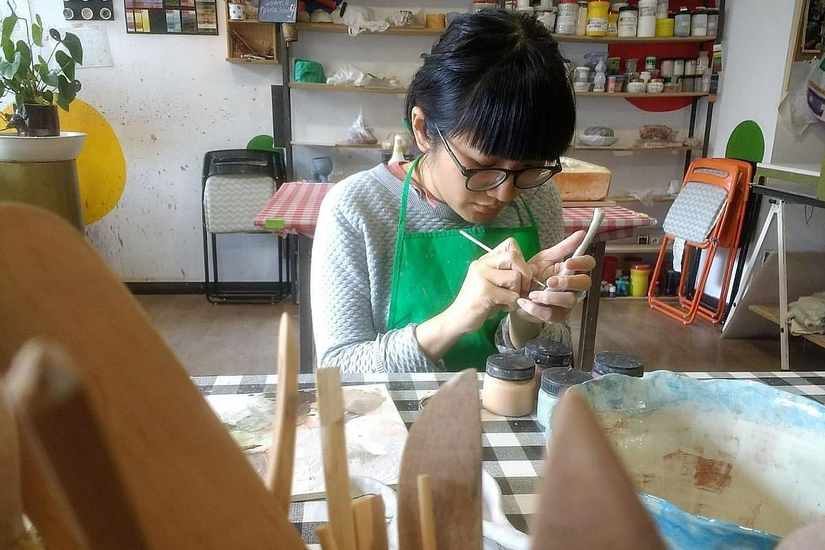 Educator Georgiana Phua at a ceramics class in Madrid, Spain, during her sabbatical early this year. While there, she will also be brushing up on her Spanish and and learning user-experience design.