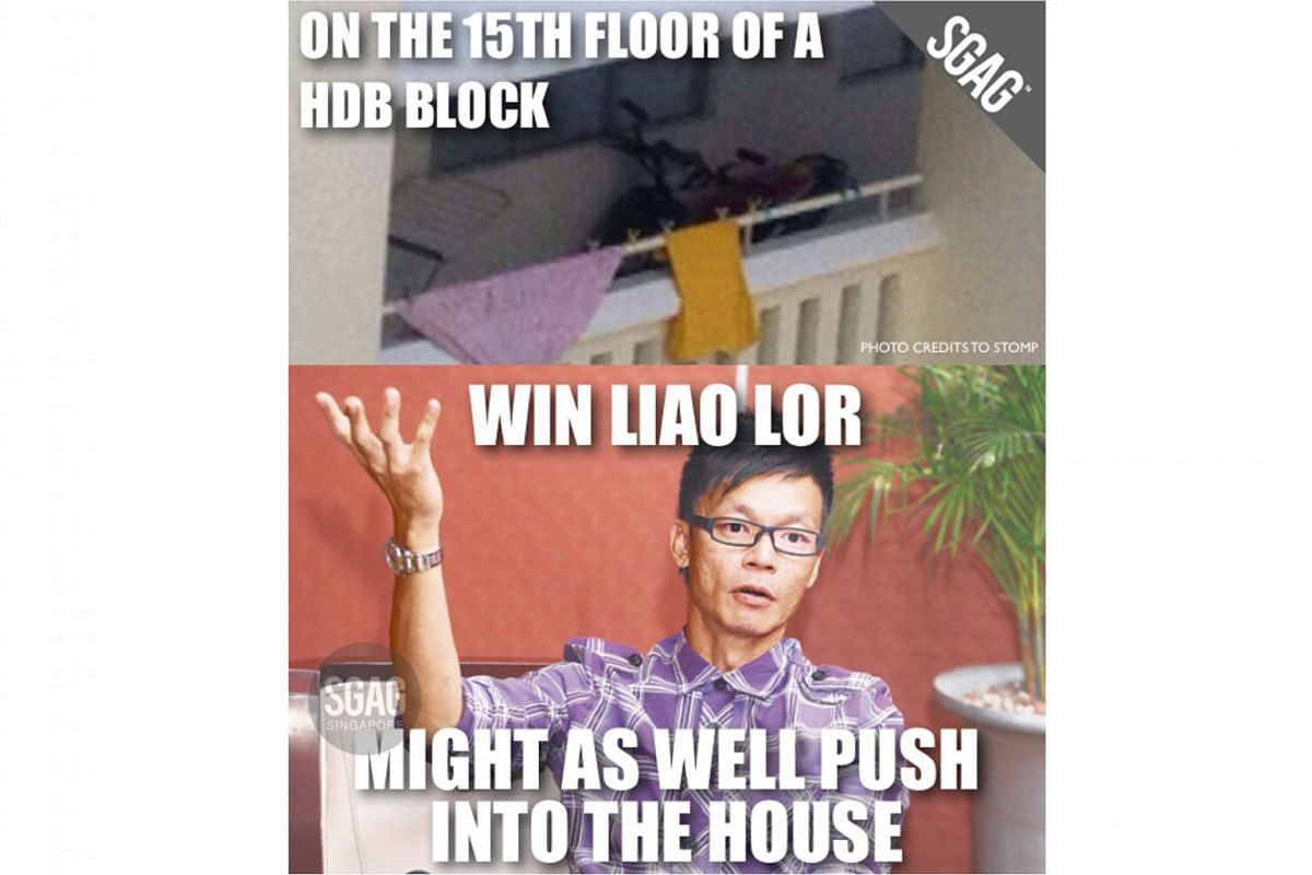 The Win Liao Lor meme uses an image of Singapore actor Mark Lee, often as a form of backhanded praise, such as in this case, where home-grown meme account SGAG combined it with a photo of a motorcycle spotted along the common corridor of a Housing Board b