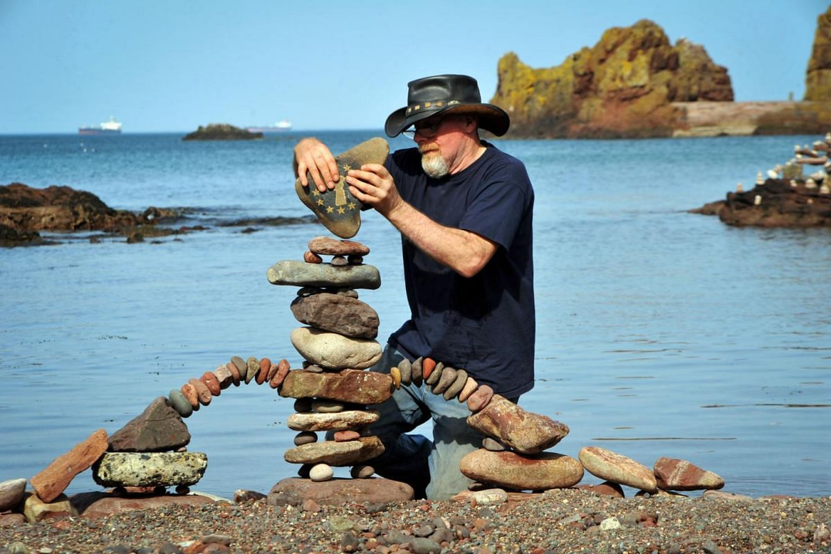 Harry Maddox from Cornwall competing in the European Stone Stacking Championships 2019 in Dunbar, Scotland.
