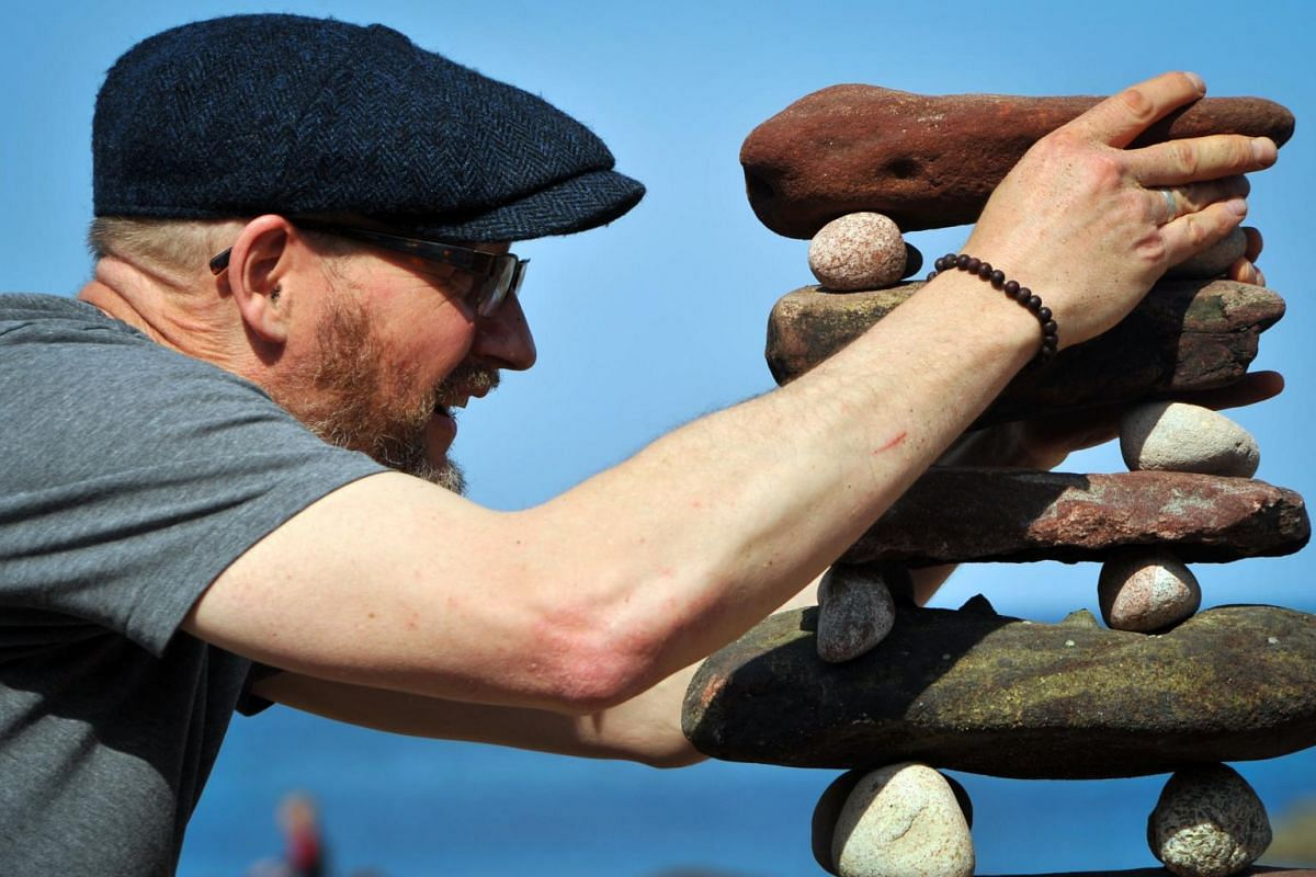 Laurence Winram from Edinburgh competing in the European Stone Stacking Championships 2019.