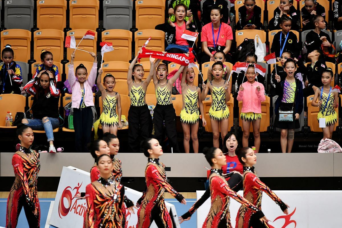Young gymnasts from D'Gymnastique Academy cheering on Team Singapore at the Four Continents Championships/Singapore Cup event at Our Tampines Hub on April 3.