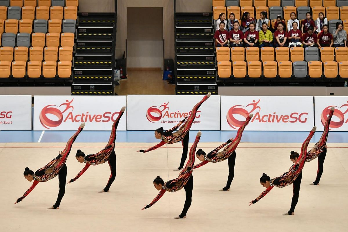 The Singapore team doing a penche balance during the Aesthetic Group Gymnastics World Cup ll event at Our Tampines Hub, on April 4, 2019.