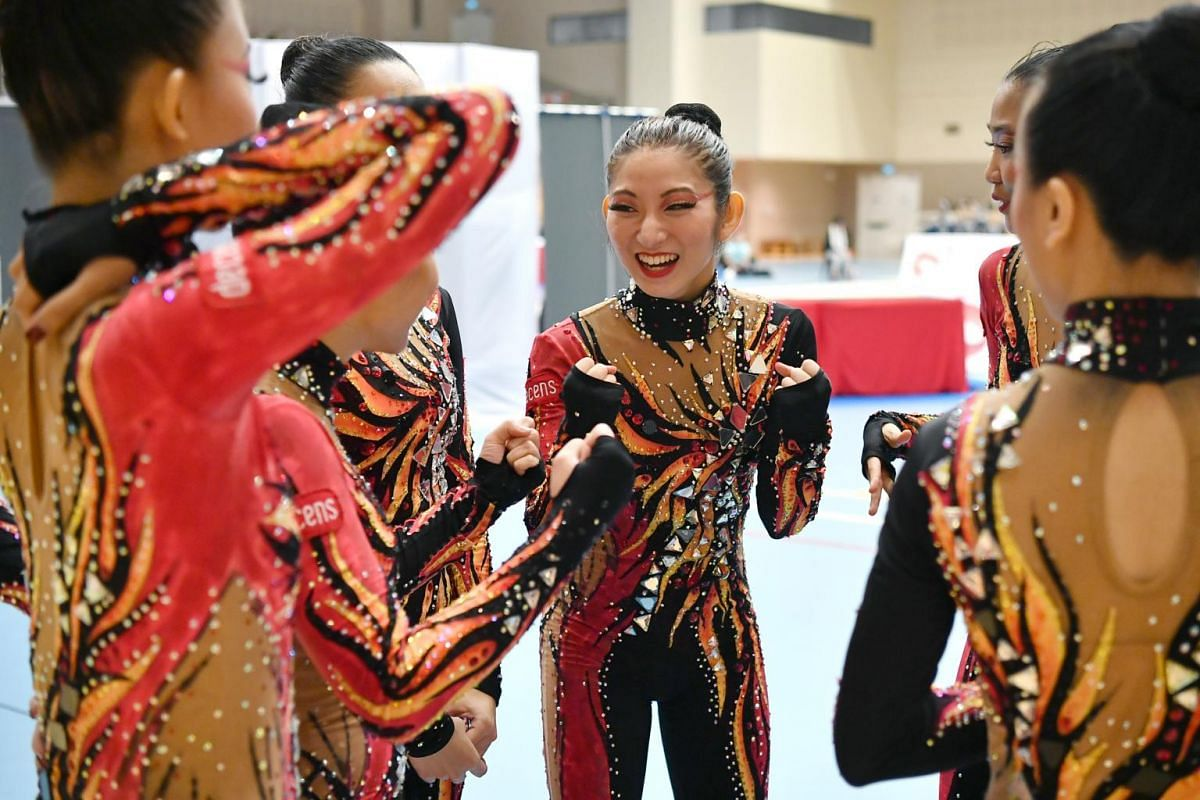 Ms Miki Nomura expressing joy after looking at the results for her team's performance at the preliminaries of the Aesthetic Group Gymnastics World Cup ll event.