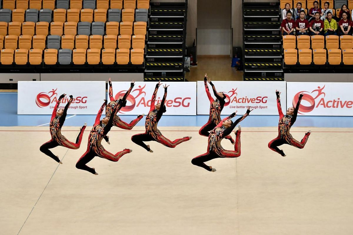 The Singapore team performing during the preliminaries of the Aesthetic Group Gymnastics World Cup ll event at Our Tampines Hub, on April 3, 2019.
