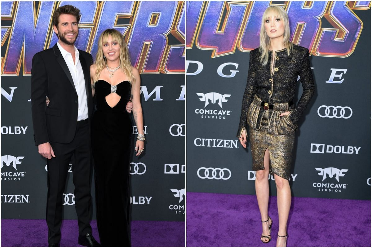 (From left) Australian actor Liam Hemsworth, singer Miley Cyrus and French actress Pom Klementieff at the Avengers: Endgame premiere in Los Angeles.