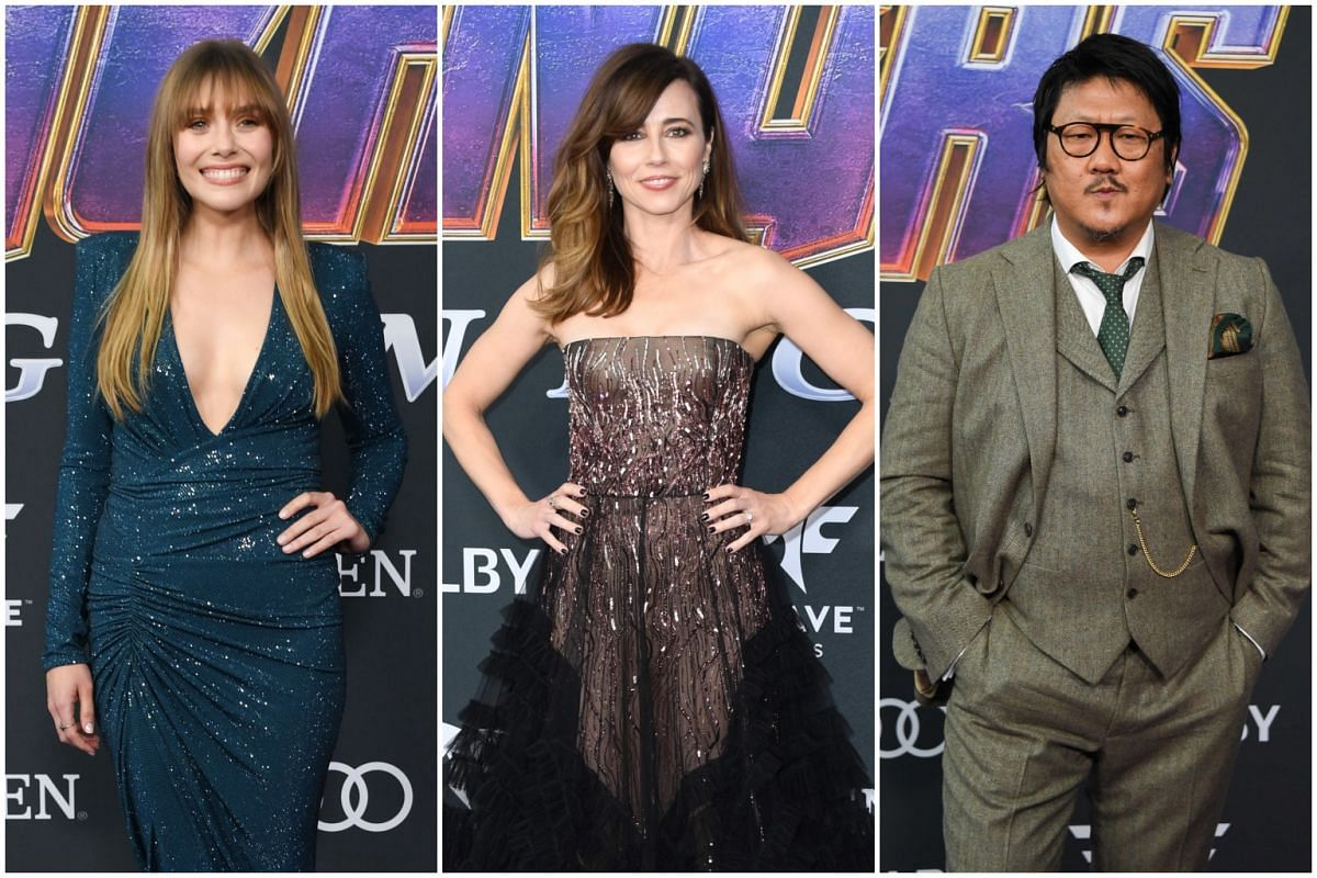 (From left) Elizabeth Olsen (Scarlet Witch), Linda Cardellini (Hawkeye's wife Laura Barton) and Benedict Wong (Wong in Dr Strange).