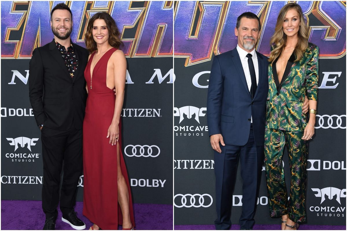 Canadian actress Cobie Smulders (second from left) and husband Taran Killam, and American actor Josh Brolin (who plays mega villain Thanos) with his wife Kathryn Boyd, at the Avengers: Endgame premiere.