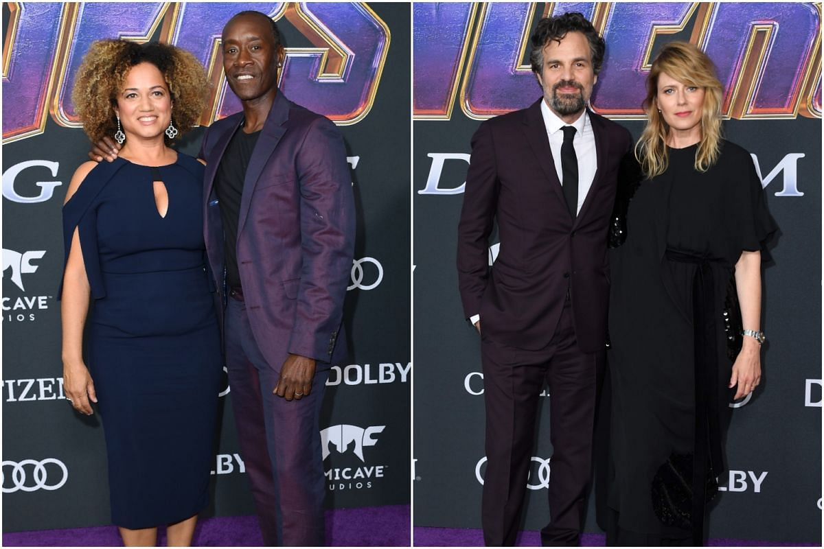 (From left) Actress Bridgid Coulter with husband and War Machine actor Don Cheadle, Hulk star Mark Ruffalo and actress Sunrise Coigney at the Los Angeles Convention Centre.