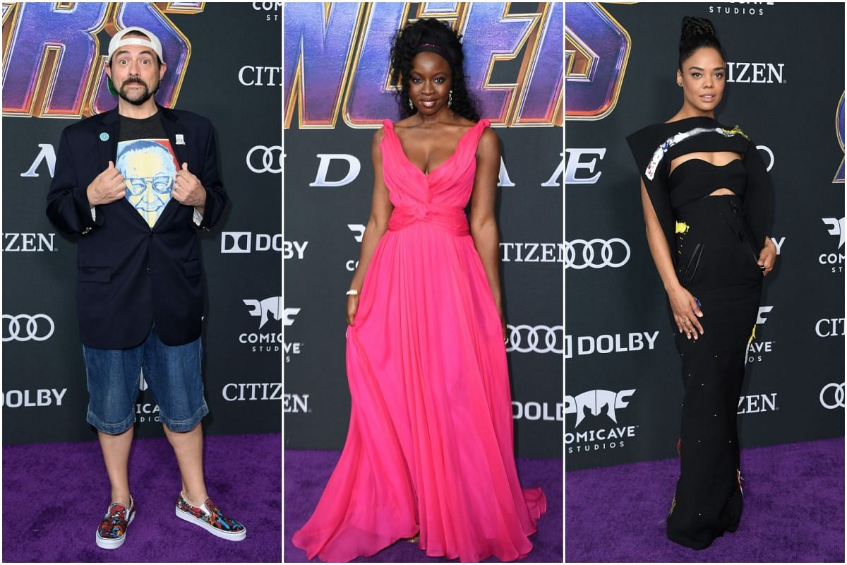 (From left) American film-maker Kevin Smith, actress Danai Gurira, who plays Okoye in Black Panther, and Valkyrie actress Tessa Thompson at the premiere.