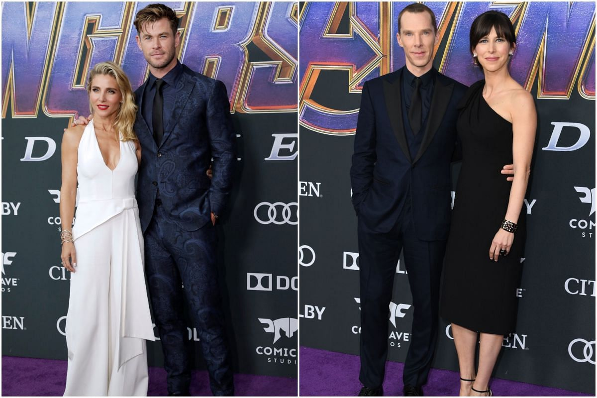 (From left) Spanish actress Elsa Pataky with husband and Thor star Chris Hemsworth, Dr Strange actor Benedict Cumberbatch and English theatre director Sophie Hunter in Los Angeles.