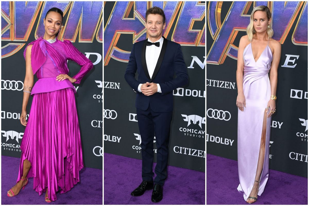 (From left) Zoe Saldana, Jeremy Renner and Brie Larson, who play Gamora, Hawkeye and Captain Marvel respectively in the film franchise, at the premiere.