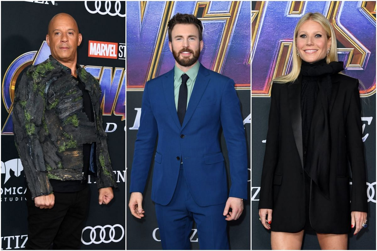 (From left) Groot actor Vin Diesel, Captain America star Chris Evans and Gwyneth Paltrow, who plays Pepper Potts in the Iron Man film franchise, at the premiere in Los Angeles.