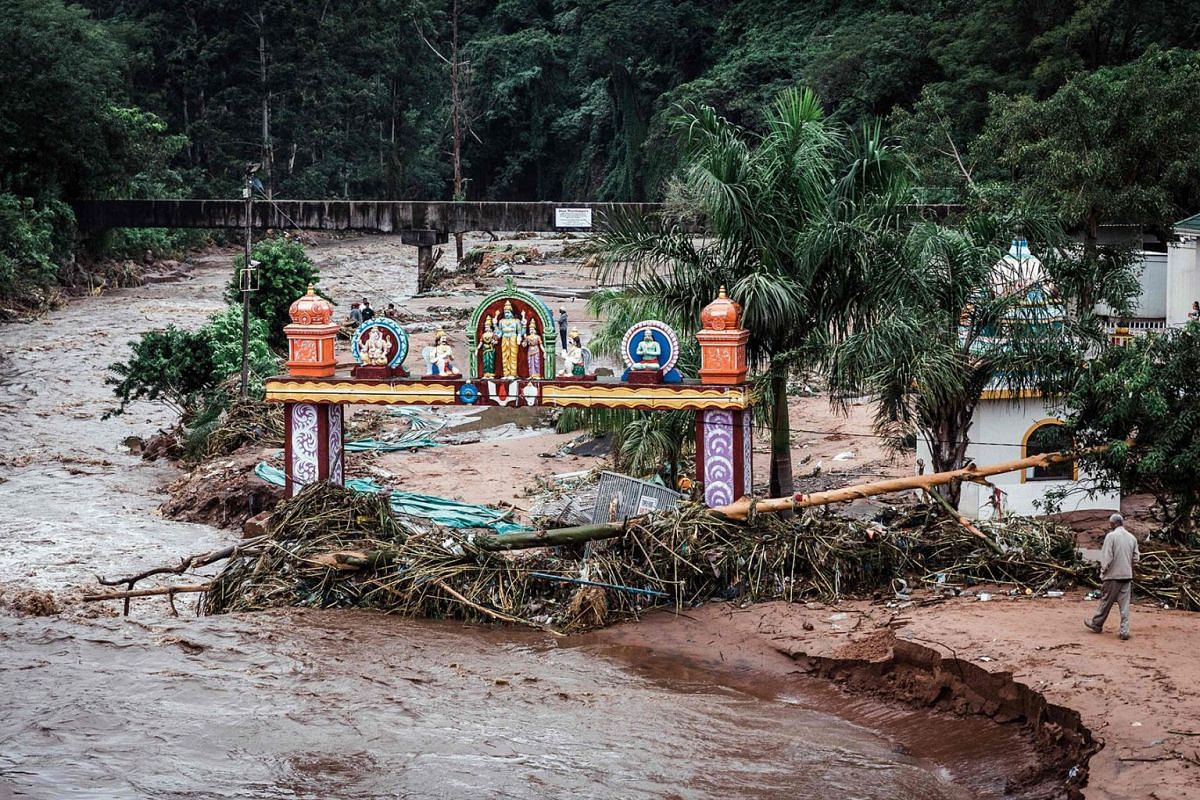 Umhlatuzana Hindu Temple, south of Durban, damaged after the township was hit by heavy rain and flash floods following torrential downpour, April 23, 2019. PHOTO: AFP