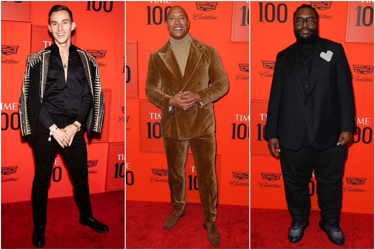(From left) Figure skater Adam Rippon, actor Dwayne Johnson and musician Questlove.