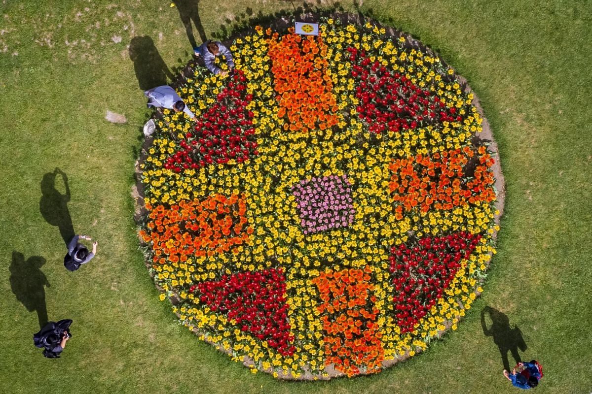 People enjoying the warm weather and tulips planted in formation at the tulip festival in the Parc de l'Independance in Morges, Switzerland, on April 22, 2019. Over 120,000 tulips of more than 380 varieties are in full bloom.