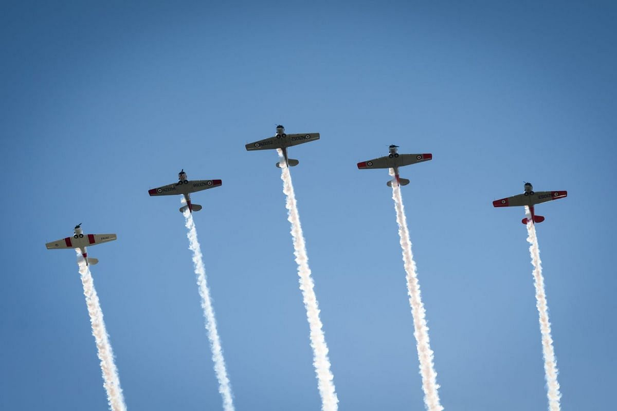 Planes in a flypast over an Anzac Day service in Auckland.