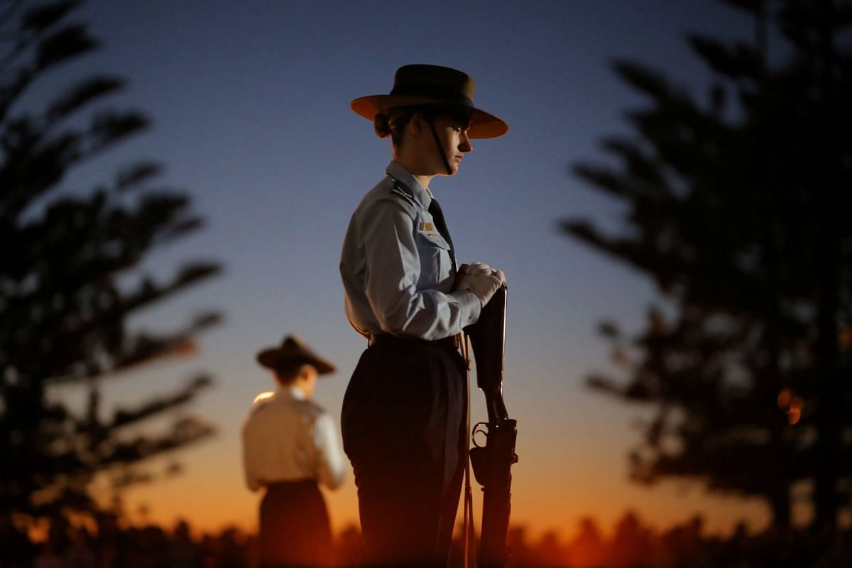 A member of the 324 Squadron during an Anzac Day dawn service at Coogee Beach in Sydney.